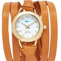 Women's La Mer Collections 'Saturn' Round Leather Wrap Watch, 32mm - Caramel (Nordstrom Online Exclusive)