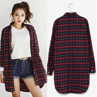 Womens Ladies Button Lapel Shirt Red Plaid Cotton Casual Tee Shirts Blouse Tops Long Sleeve = 1919975684