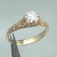 18K Art Nouveau Filigree Engagement Ring, Yellow Gold Setting with 5.5 mm (.60  Carats) Round Brilliant