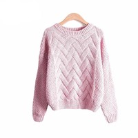 Women Winter Ribbed Thick Loose Knitted Sweater