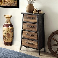 4 Drawer Wooden Storage Chest with Canted Metal Frame, Brown and Dark Gray By Casagear Home