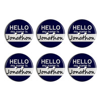 Jonathon Hello My Name Is Plastic Resin Button Set of 6