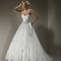 2012 Maggie Sottero Bridal - Ivory & Pewter Organza & Lace Floral Strapless Isadora Marie Wedding Gown - 0 - 28 - Unique Vintage - Cocktail, Evening & Pinup Dresses
