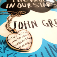 The Fault in Our Stars by John Green Antiqued Bronze Book Page Necklace