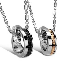 """JewelryWe New """"Eternal Love"""" Stainless Steel Interlocking Double Rings Pendant Necklace Couples Jewelry Set (One Pair)"""