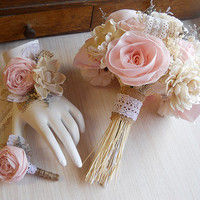 Shabby Chic Soft Pink Wedding Bouquet, Wrist Corage, Boutonniere, sola flowers, pink cotton fabric roses, burlap, lace. Made to Order.
