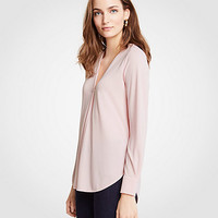 V-Neck Pleat Front Top | Ann Taylor