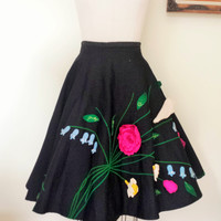 Vintage 50s Full Circle Black Skirt with Felt Applique Flowers, Poodle Skirt