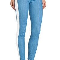 7 For All Mankind Fashion Pieced Skinny in White Leather & Denim