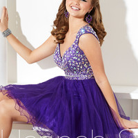 Capped Sleeve Beaded Embellished Prom Dress By Hannah S 27907