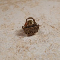 Antiqued Brass Picnic Basket Tie Tack Lapel Pin Figural Formal Jewelry
