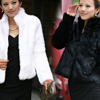 Standing Collar Faux Rabbit fur Coat Jacket Outwear Overcoat Vest Parka Shawl FPC084 = 1931591748