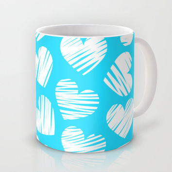 Sketchy hearts in blue and white Mug by Silvianna