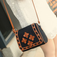 New Fashion Women Solid PU Leather Handbag Shoulder Bags Lady Messenger Bag Candy Crossbody Bags Flower Decoor