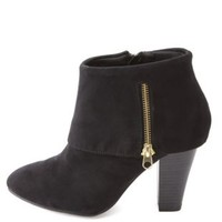 Qupid Cuffed Side-Zipper Chunky Heel Ankle Booties - Black