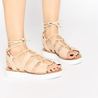 London Rebel Klip Tie Flatform Gladiator Flat Sandals