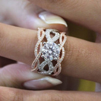 "Gabriel ""Calm"" Two Tone Rose & White Twist Diamond Engagement Ring"