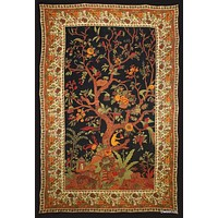 Cotton Tree of Life Tapestry Tablecloth Rectangle Bed sheet Full Black Gold