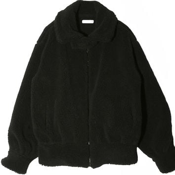 Soft Buttoned Strap Collar Zip-Up Jacket