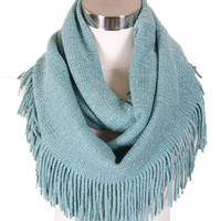 Luxe Fringe Infinity Scarf in Mint