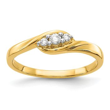 14k Yellow Gold 3-stone Real Diamond Ring