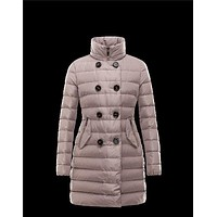 Moncler GARBET Double-Breasted Detachable Dove grey Coats Techno Fabric Womens 4145671