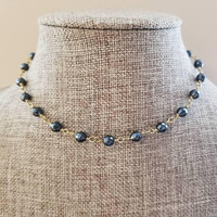 Hematite Stone layering Beaded Choker Chain Necklace Gold Round Beads Dark Blue