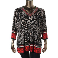JM Collection Womens Plus 3/4 Sleeves Printed Blouse