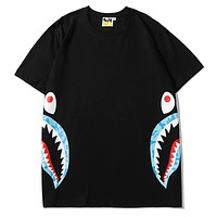 Bape Aape New fashion shark print couple top t-shirt Black