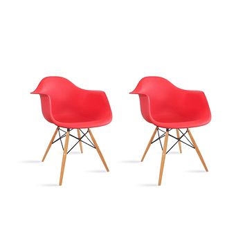 Casa AndreaMilano Mid Century Modern Kitchen Table Set of 2 Eames Style Armchair, Shell Plastic Lounge Desk/Dining Arms & Wood Legs, Side Chair for Living Room, Red