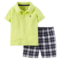Carter's® Baby Boys' 2-Piece Jersey Top & Plaid Shorts Set at www.bostonstore.com