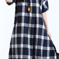 Blue Plaid Print Short Sleeve Flare Midi Dress