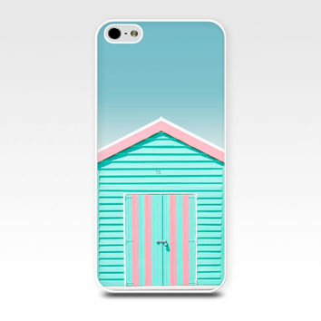 iphone 4 case 4s 5 5s nautical beach house photography pastel bathing boxes fine art iphone case 5s cover cell phone case photograph pink