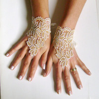 Ivory Caramel leaf lace gloves bridal wedding  gloves late coffe cappuccino collor bridesmaid prom dress bride wedding venice lace 0016