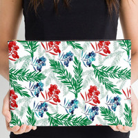 Carry-All Pouch or Laptop Sleeve - Christmas Colors - Canvas-like fabric, Travel, Pocket, Traveler, Custom, Red, Green, Cosmetic, Make-up