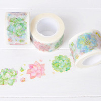 Succulent Wide Washi Tape. 30mm x 10m. Succulent Washi Tape. Flower Washi Tape. Gardening Washi Tape. DIY Card Making Supplies.