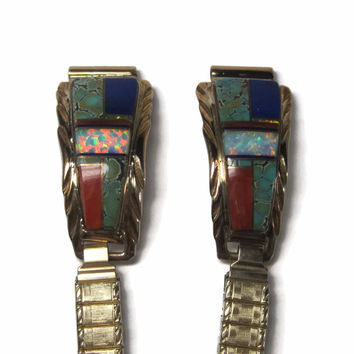 Ladies Vintage Navajo Inlay Watch Tips Turquoise Lapis Opal Coral 12K Gold Filled