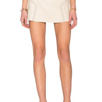 Bishop + Young Lily Side Stitch Mini Skirt in Cream