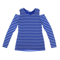 Bailey 44 Womens Striped Cold Shoulder Pullover Top