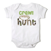 Crawl Walk Hunt Onesuit for the Baby One Piece Bodysuit