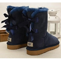 Tagre™ UGG Fashion Women Fur Bow Wool Snow Boots In Tube Boots Shoes