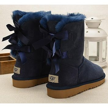 mieniwe? UGG Fashion Women Fur Bow Wool Snow Boots In Tube Boots Shoes