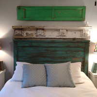 Distressed Queen size headboard - Turquoise - Custom colors available
