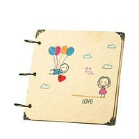High Quality 8 Inches Square Scrapbook Kraft Paper Lovely Couple Hinged Rings Keychain DIY Photo Album