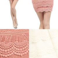 Sexy Bodycon High-Waisted Banded Crochet Tiered Layer Skirts with Scalloped Hem