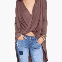 Brown Red Plunge Long Sleeve Blouse