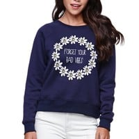 Young Romantics Forget Bad Vibes Fleece - Womens Hoodie - Blue