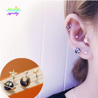 More Colors 2016 New Japanese Zipper Style Punk Planet Universe Moon Multi Pierced Stud Earrings For Women Fake Piercing Set
