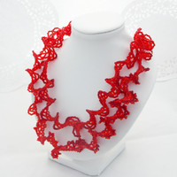 SALE Red necklace long necklace wide necklace seed beads necklace bib necklace statement necklace ogalala necklace