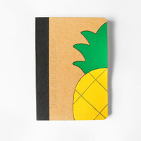 Pinapple pocket scketchbook, handpainted journal, eco-friendly notebook in bamboo paper, back to school gift idea